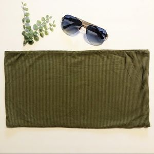 NWOT Top Shop Olive Green Ribbed Tube Top. Size 12